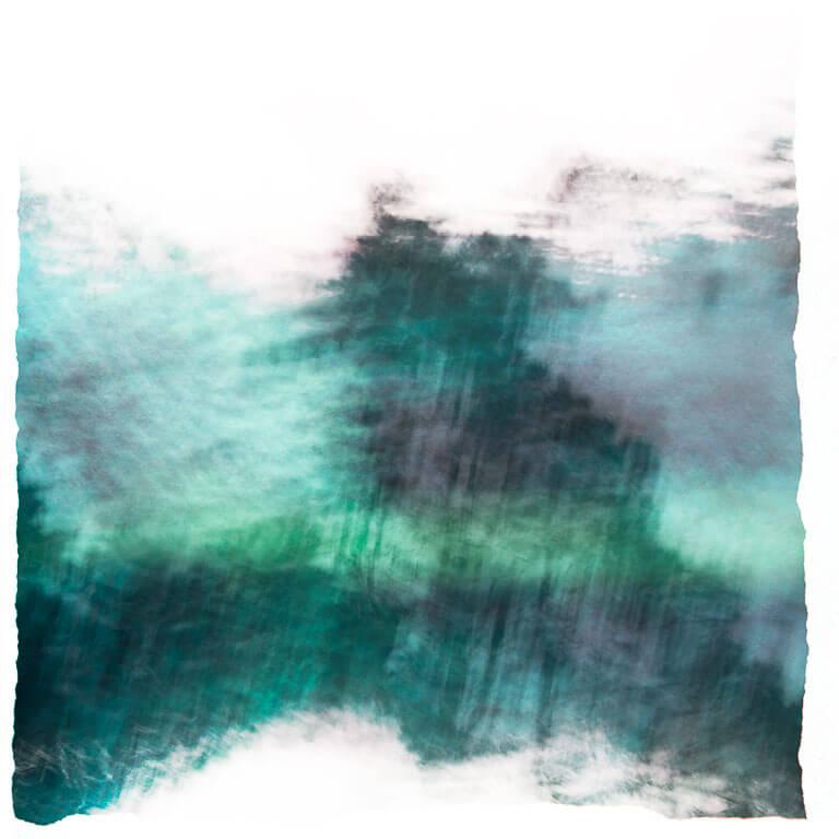 Afscheidskunst van een impressionistische blauwe natuurlandschap met bomen